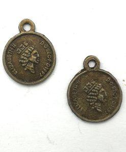 Metalen bedel munt 13x11mm brons