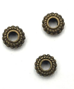 Metalen spacer / kralen 8x2mm brons