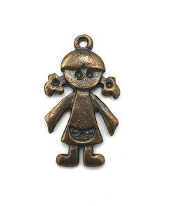 Metalen bedel girl 27x15mm brons