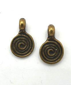 Metalen bedel swirl 20x12mm brons