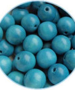 Houten kralen azuurblauw