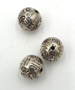 Metallook kraal rond 10mm antiek zilver