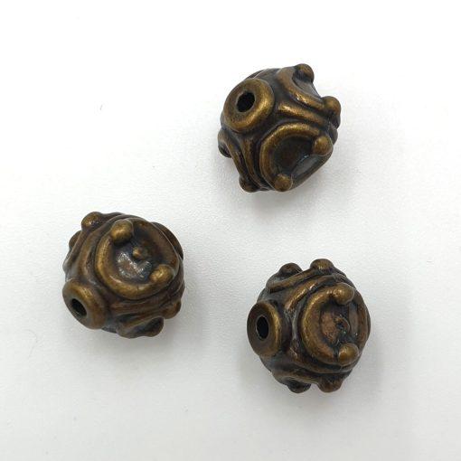 Metallook kralen 12mm brons