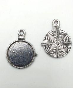 Metalen setting voor ronde cabochon antiek zilver