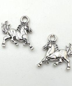 Metaal bedel Paard 15mm antiek zilver