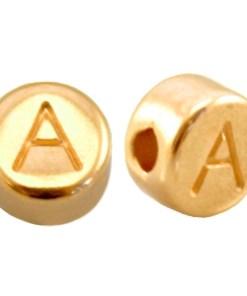 Letter en cijferkralen DQ metaal goud