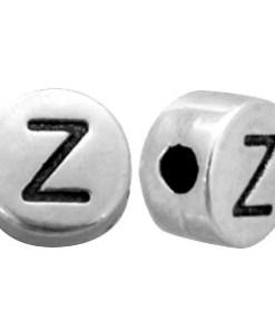 DQ metalen letterkraal Z Antiek zilver (nikkelvrij)