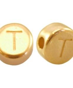 DQ metalen letterkraal T Goud