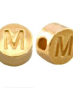 DQ metalen letterkraal M Goud