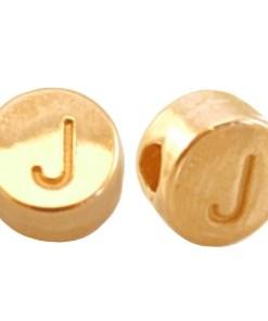 DQ metalen letterkraal J Goud