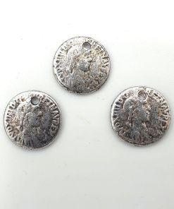 DQ Metalen bedel munt antiek zilver 16mm