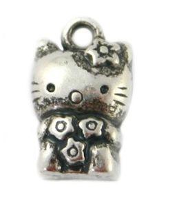 Metallook bedel Hello Kitty 15x8x7mm antiek zilver