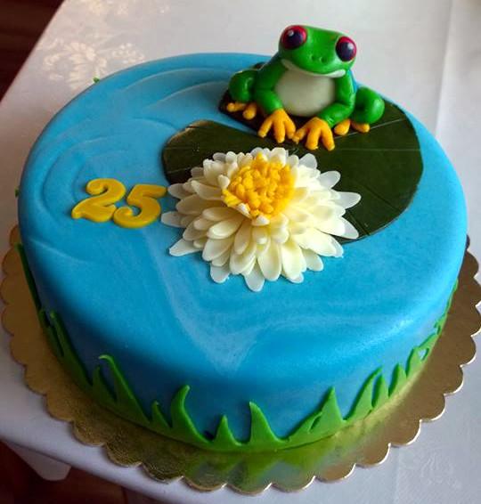 Stylový dort k narozeninám s žabákem