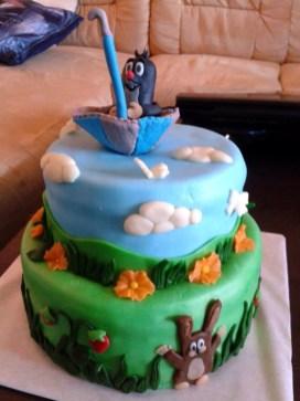 Třípatrový dort pro děti - Krteček