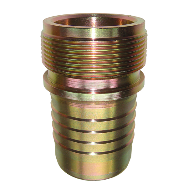 Threaded stem for mortar coupling, hydraulic crimping