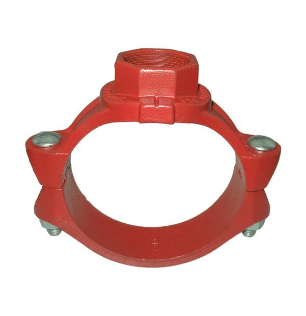 Anbohrschelle mit Innengewinde-Abgang rot