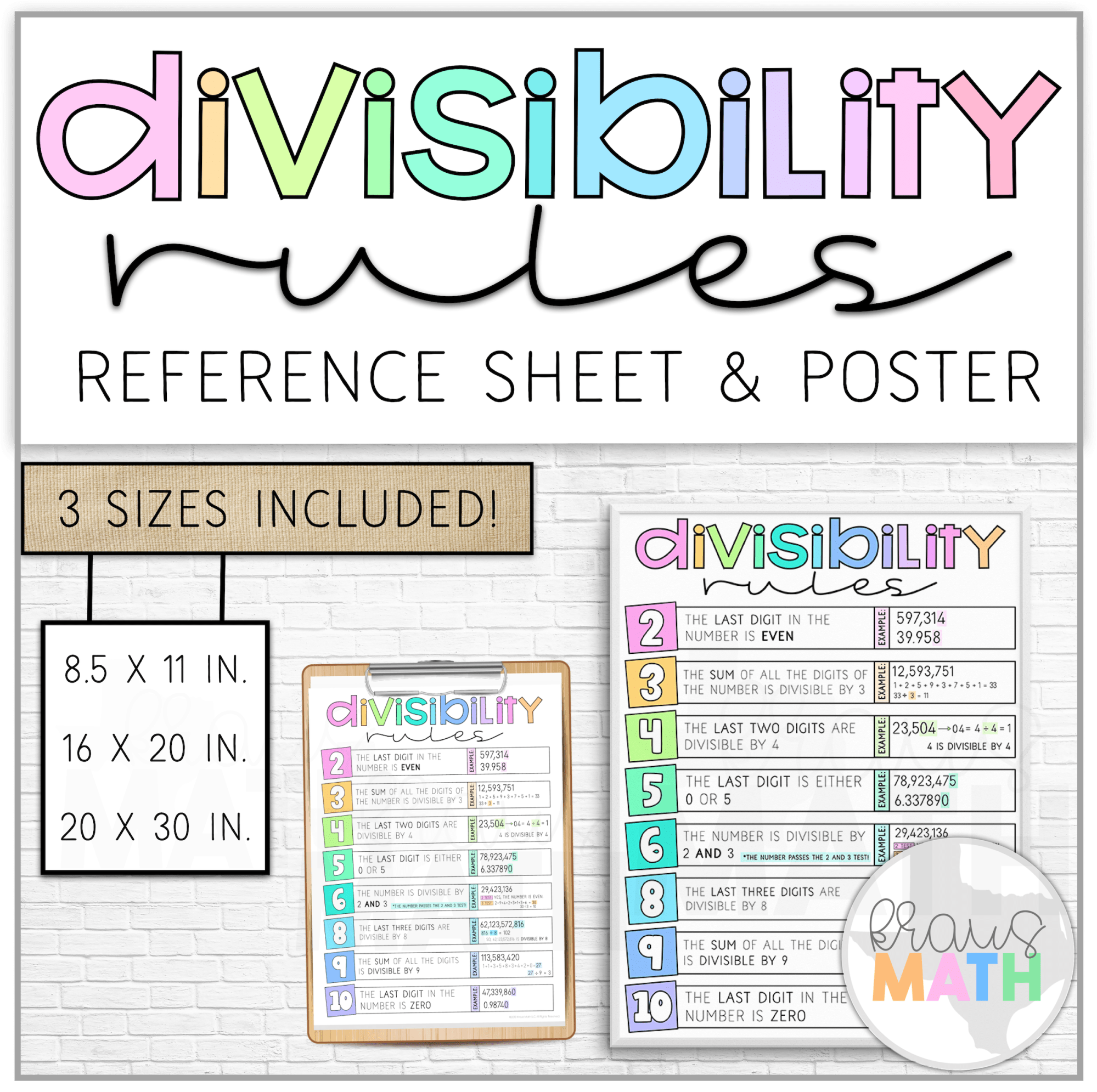 hight resolution of Divisibility Rules Reference Sheet \u0026 Poster   Kraus Math