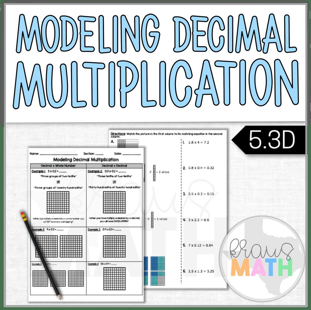 medium resolution of Modeling Decimal Multiplication Notes \u0026 Worksheet (TEKS 5.3D)   Kraus Math