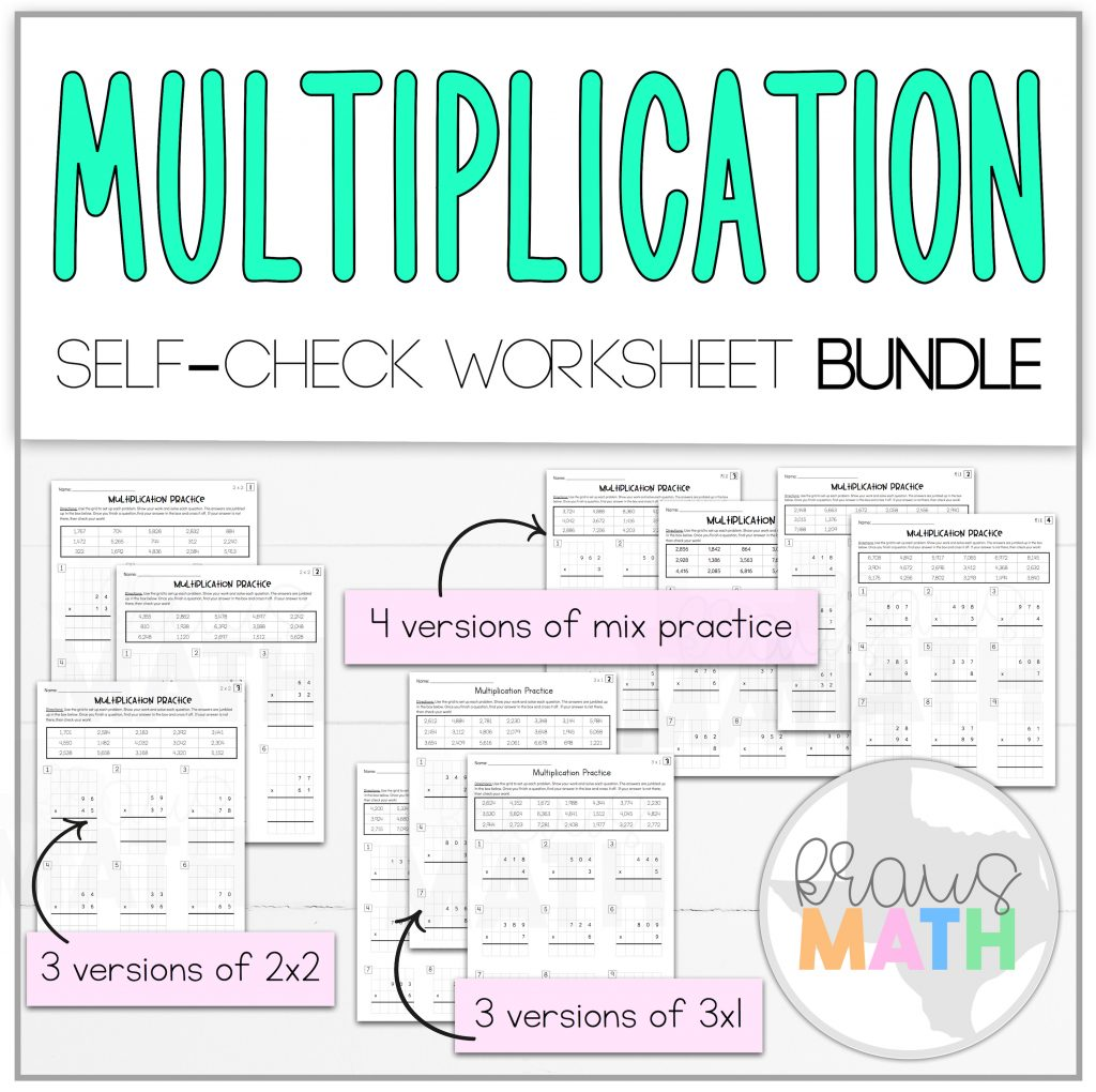 Multiplication 2x2 Amp 3x1 Self Check Worksheet Bundle Teks 4 4d
