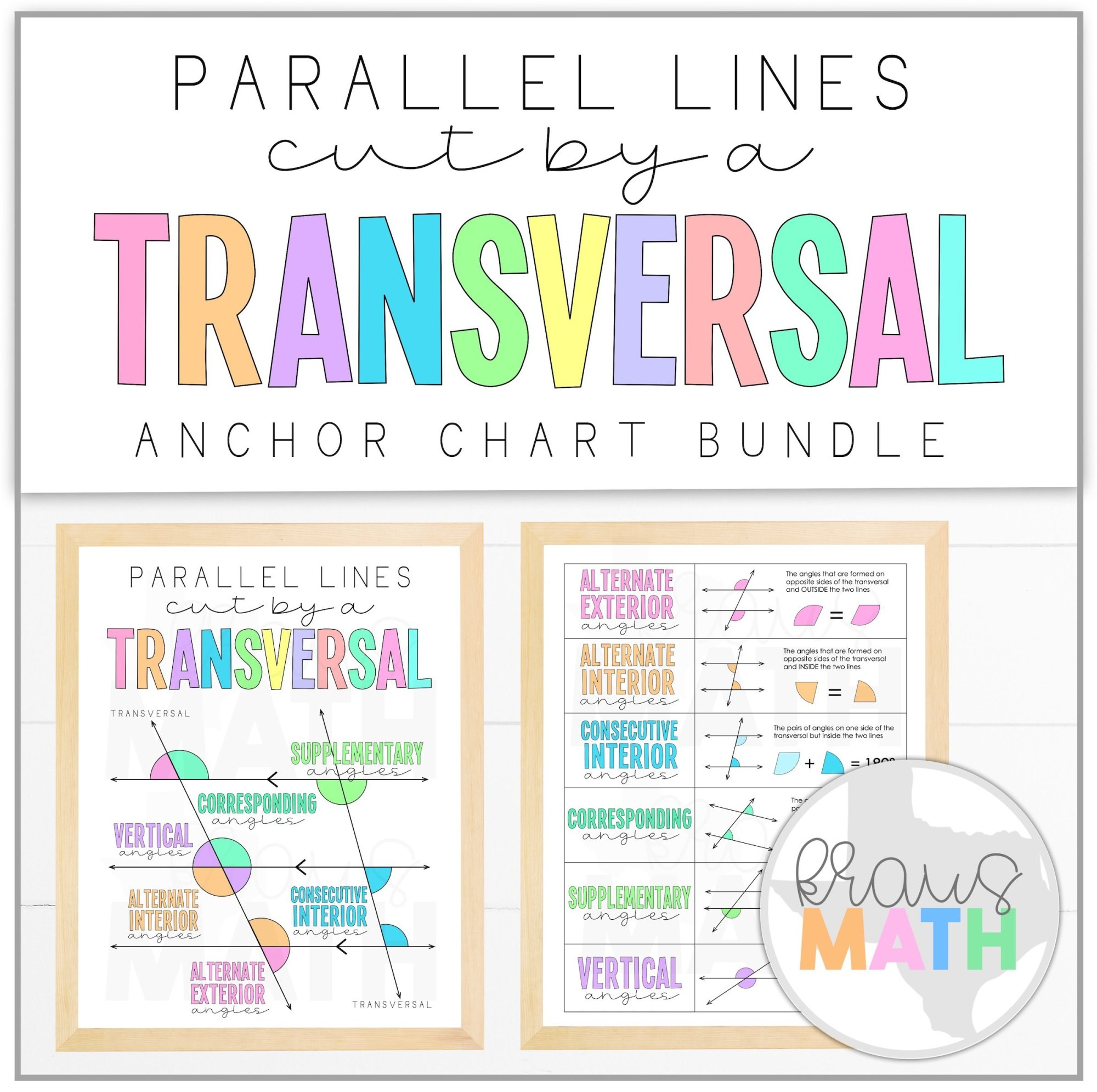 hight resolution of Transversals: Angle Relationships Posters (Math Anchor Charts)   Kraus Math