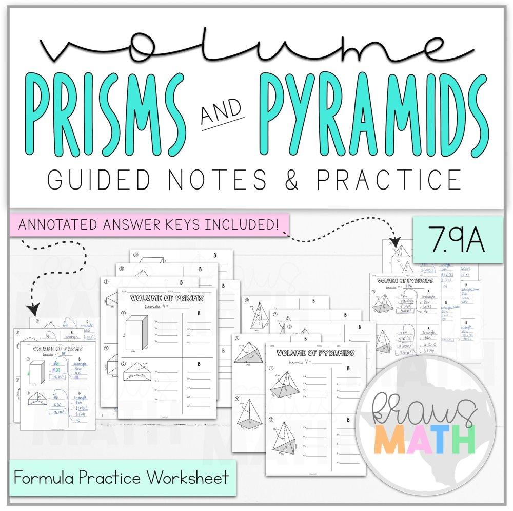 medium resolution of Volume of Prisms \u0026 Pyramids Worksheet BUNDLE (TEKS 7.9A)   Kraus Math