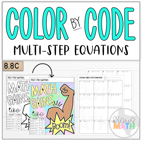 small resolution of Color By Number Math Gains: Multi-Step Equations (TEKS 8.8C)   Kraus Math