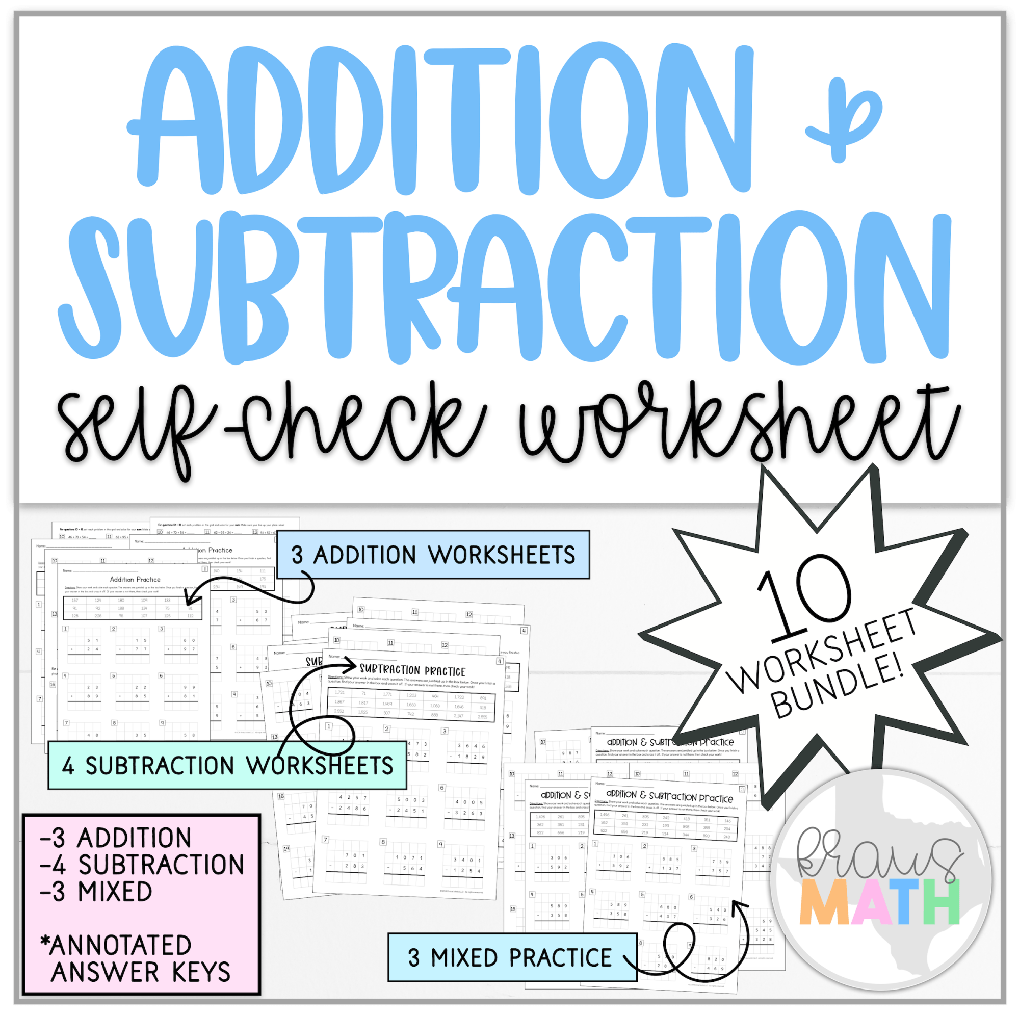 hight resolution of Addition \u0026 Subtraction Self-Check Worksheets   Kraus Math