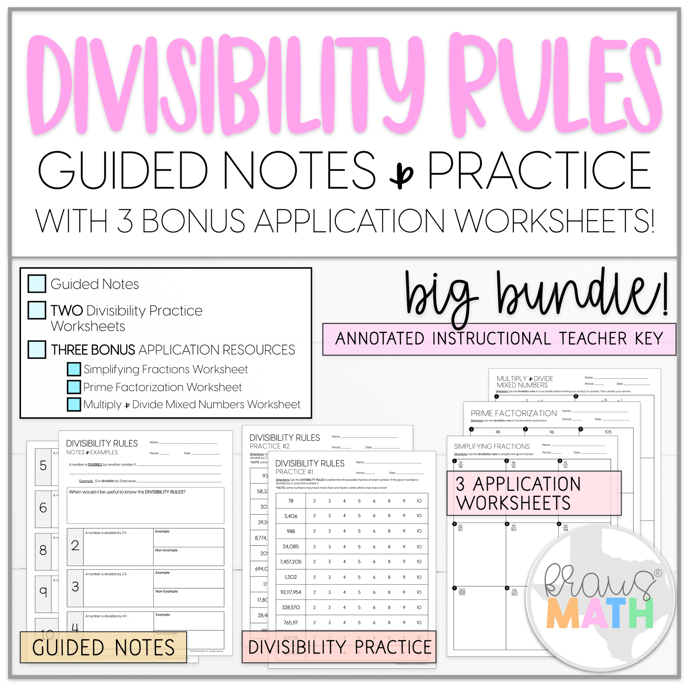 Divisibility Rules Notes Amp Worksheets Bundle