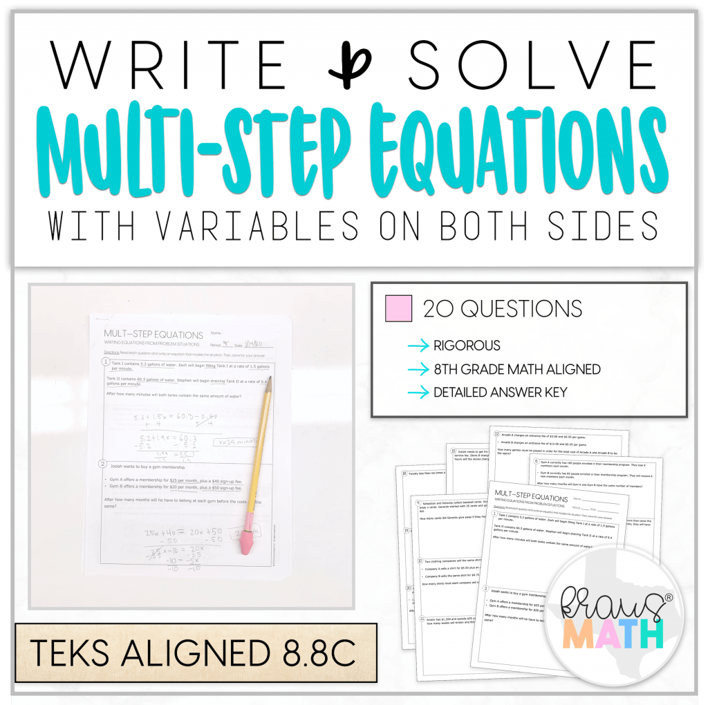 Write Amp Solve Multi Step Equations Worksheet