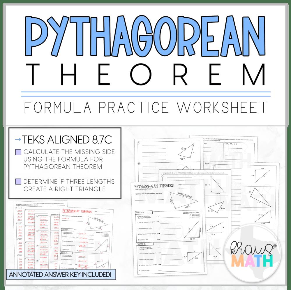 medium resolution of Pythagorean Theorem Guided Practice Worksheet   TEKS 8.7C   Kraus Math
