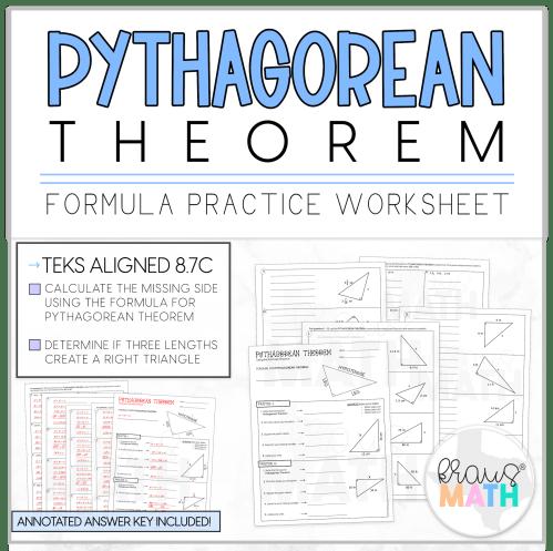 small resolution of Pythagorean Theorem Guided Practice Worksheet   TEKS 8.7C   Kraus Math