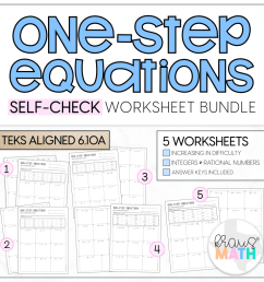 One-Step Equations SELF-CHECK Worksheets   TEKS 6.10A   Kraus Math [ 1020 x 1024 Pixel ]