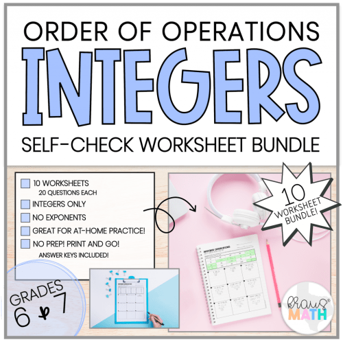 small resolution of INTEGERS Order of Operations SELF-CHECK Worksheets   TEKS 6.3D   Kraus Math