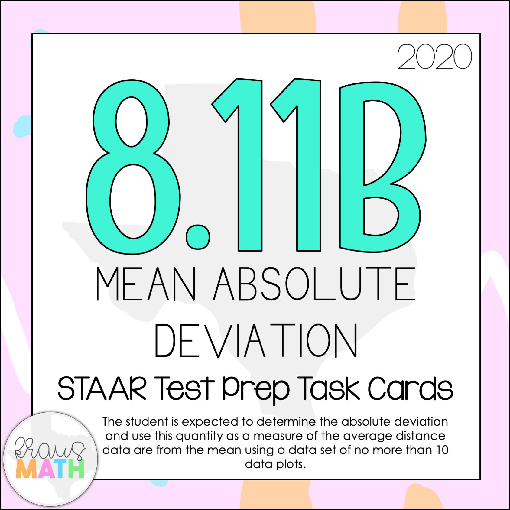 hight resolution of 8.11B: Mean Absolute Deviation STAAR Test Prep TEKS Task Cards   Kraus Math