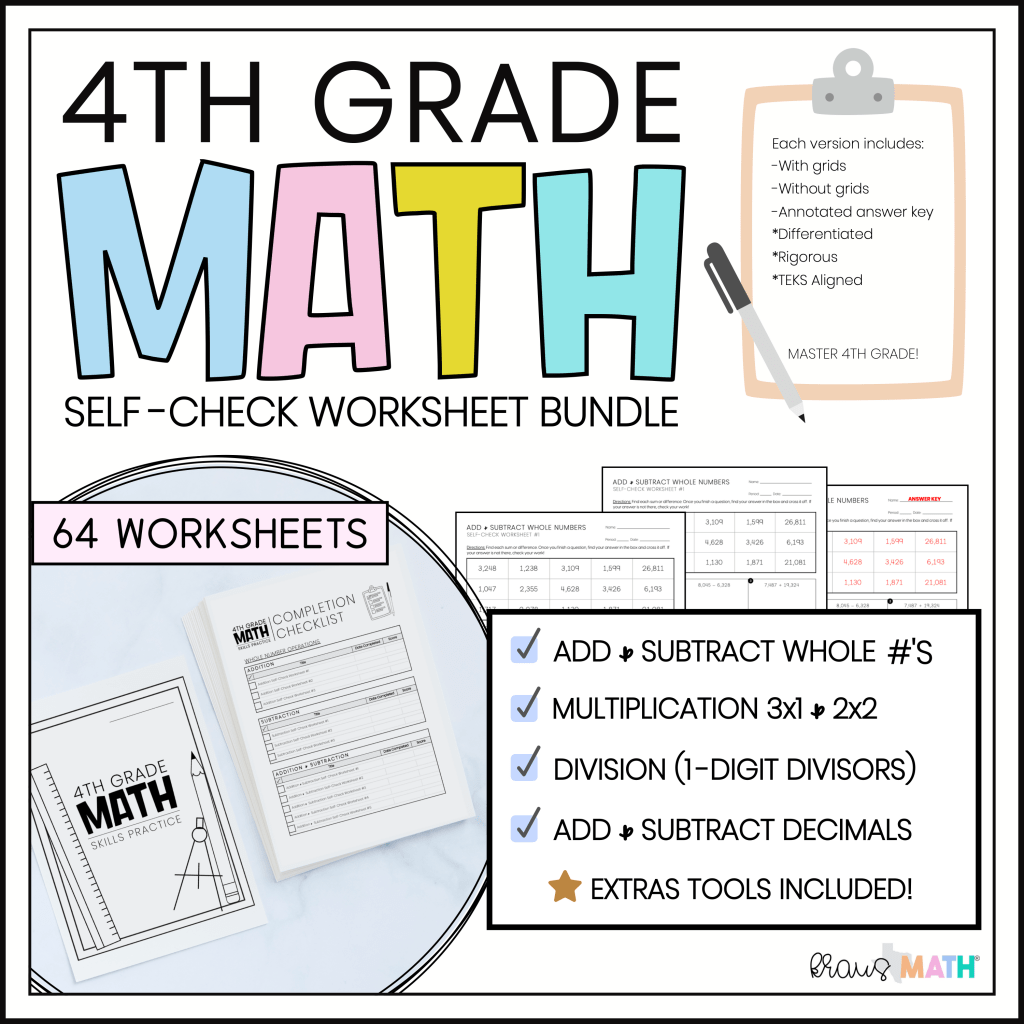 4th Grade Math Self Check Worksheets