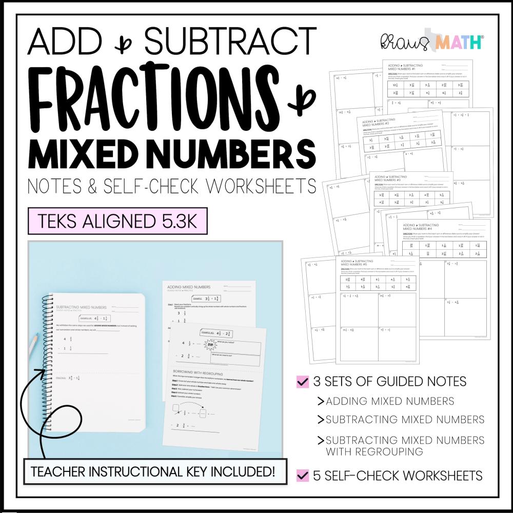 medium resolution of Add \u0026 Subtract Mixed Numbers   Notes \u0026 Practice   Kraus Math