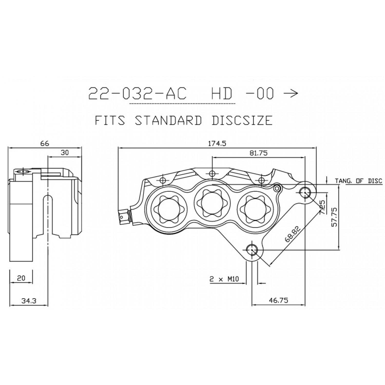 Etrier Avant 6 Pistons Isr Entraxe Fixation 68 82mm