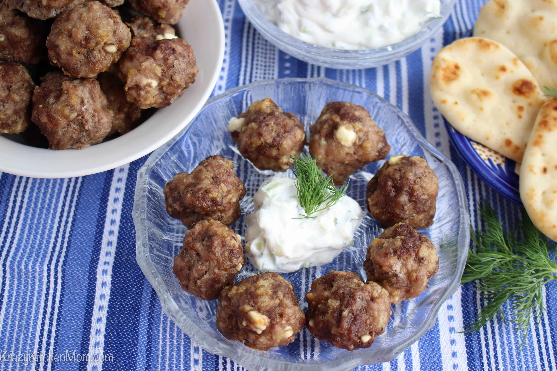Feta Stuffed Greek Style Meatballs  Krazy Kitchen Mom