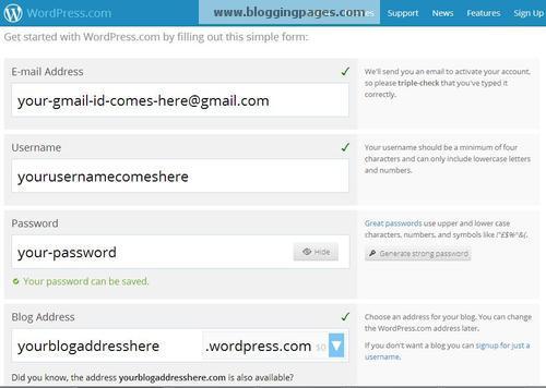 Wordpress.com Screen 2