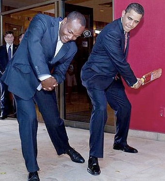 Taking tips ... US President Barack Obama with Brian Lara