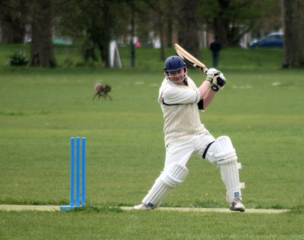 Hitting out ... Leon whacks one on his way to 31 not out