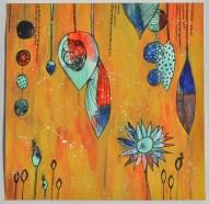 """Peinture """"Gouttes de couleurs"""" Turquoises, rouges et bleues"""