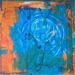 """""""Enjoy Love Life"""" Peinture acrylique 100x100cm, orange, bleu, blanc et noir"""