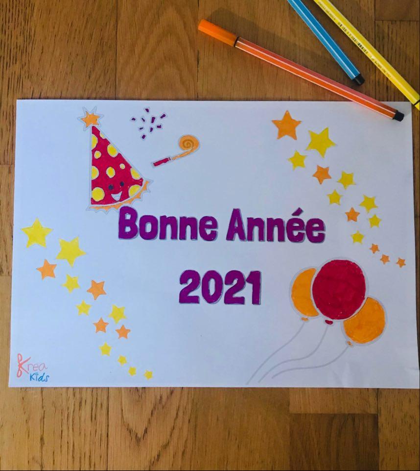 Coloriage pour enfant bonne année 2021
