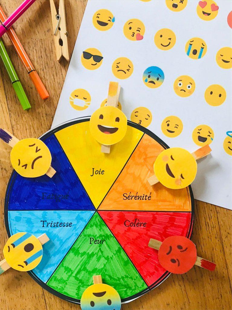 Activité pour enfant la roue des émotions