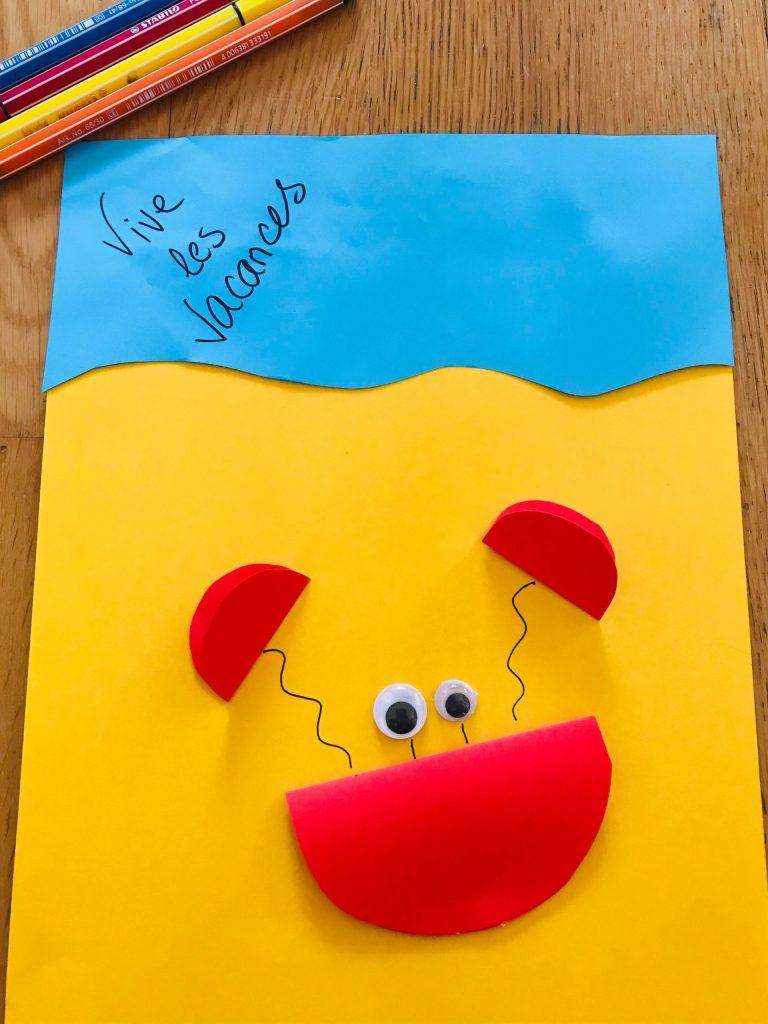 Activité crabe en papier pour enfant
