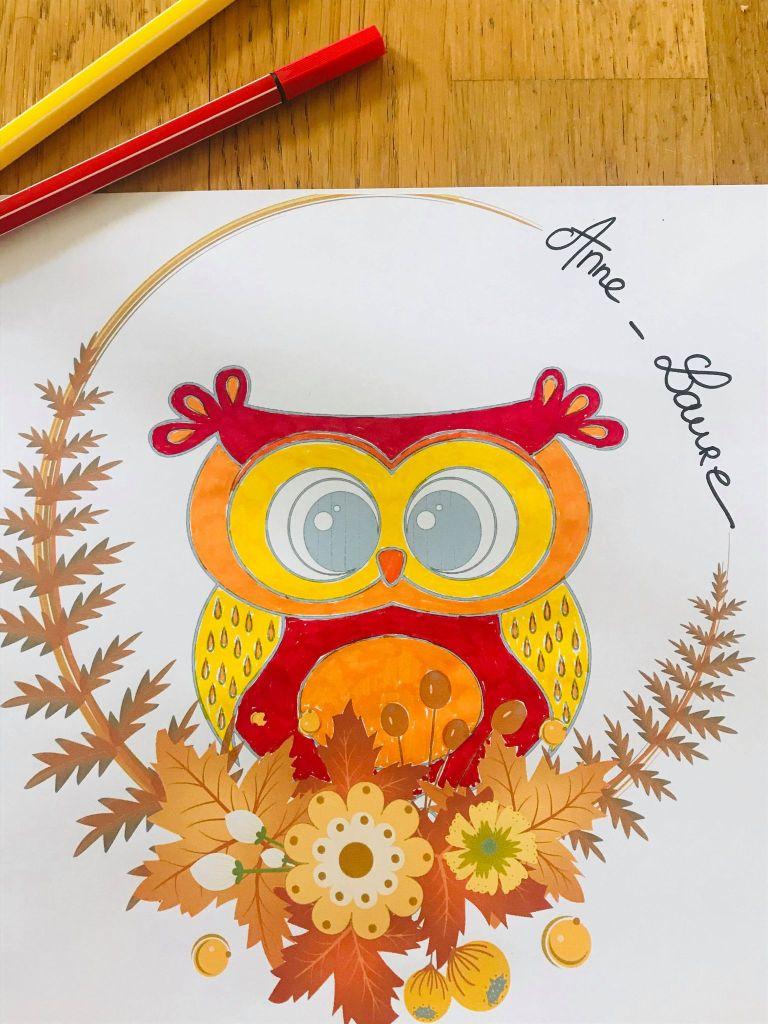 Couronne de l'automne à colorier pour enfant