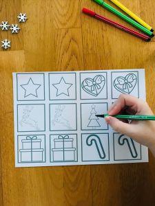 Memory de noël à colorier