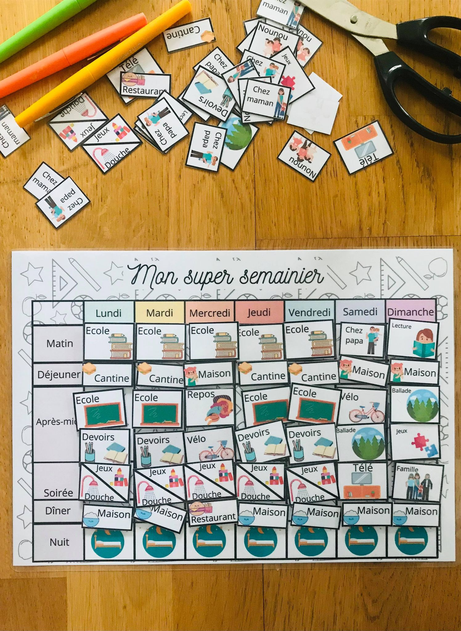 Planning de la semaine pour enfant