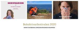Bokskrivarfestivalen 2020 med Skrivradion, Jeanette Niemi, Kreationslotsen din skrivcoach, Anna-Maria Ekblad och Thomas Niemi
